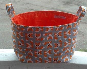 Fox, Fox Diaper Caddy, Fabric organizer, Fabric Bin, Fabric Basket, Baby, Orange, Gray