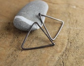 Continuous triangle hoops, shiny or oxidized sterling silver earrings, never take them off, perfect for travelling, unisex,2 dollar shipping