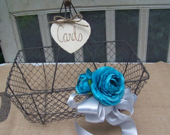 Rustic Chic Wire Card Box Basket With Flowers Wedding