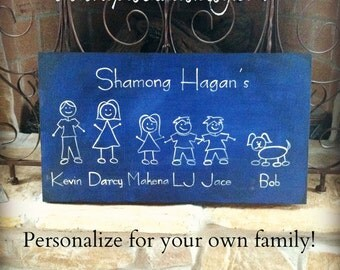 Family Plaque, Personalized, hand painted, and distressed with a Stick Figure Family and Your Own Names