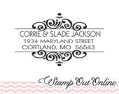 return address stamp with a modern font for a clean look --2426