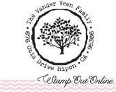 Tree custom return address rubber stamp Wood Mount--2409