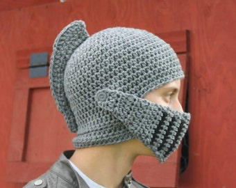 Knight Helmet with Movable Visor/Mouthguard - Hand crocheted
