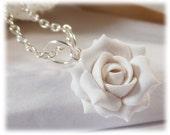 White Rose Necklace - Ivory Rose Necklace, White Flower Necklace, White Bridesmaid Necklace, White Rose Pendant, White Rose Jewelry