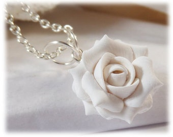Dainty White Rose Necklace - White Rose Jewelry Collection, White Flower Necklace