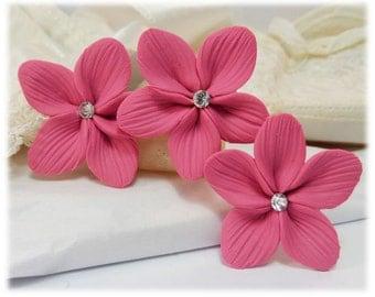 Pink Hair Flowers - Pink Flower Hair Pins, Pink Wedding Hair Flowers