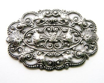 SILVER 1 - Small Oval Floral Filigree Ornament Plaque Antique SIlver Ox Brass Stamping - Jewelry Findings (CB-3046)