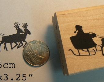P56 Santa with reindeer rubber stamp