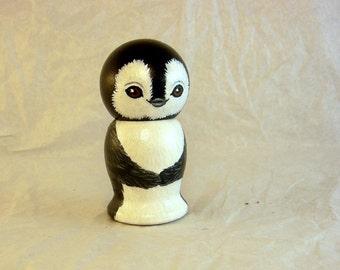 Little Penguin Wooden Kokeshi Doll