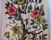 Vintage 1940's Hibiscus Barkcloth Fully Lined Drape,Yardage,Tropical, Hawaiian