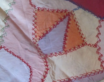 SALE Antique Crazy Quilt Block Lovely Embroidery Was 19.99 Now 15.99