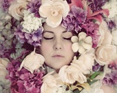 Flower Portrait, Surreal Portrait, Fine Art Photo, Pink, Purple, Pastel Flowers, Bedroom Decor, Dreamy, Ethereal - ellemoss