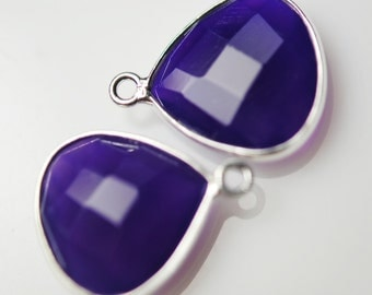 2 purple chalcedony matching heart connectors 16.00