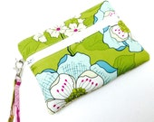 IPhone Wristlet Wallet, Blue and White Flowers on Green
