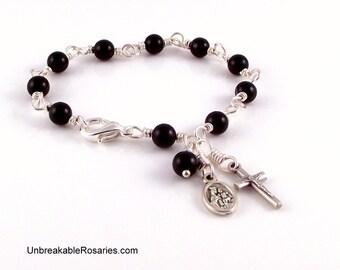Virgin of Mt Carmel Sacred Heart of Jesus Rosary Bracelet in Black Onyx by Unbreakable Rosaries