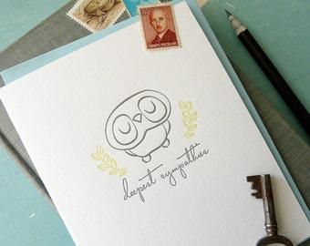 Deepest Sympathies Owl Letterpress Note Card