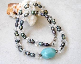Amazonite Pearl Aquamarine Necklace Sterling Silver Metaphysical Healing Stones Boho Jewelry Gemstone Necklace