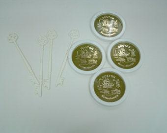 Vintage set of 4 plastic Boston Massachusetts coasters travel souvenir