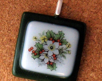 Fused Glass Holiday Pendant Holly Pendant Glass Pendant Holiday Jewelry Christmas Jewelry