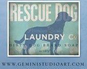 Rescue Dog laundry company laundry room artwork giclee archival signed artists print by stephen fowler geministudio Pick A Size