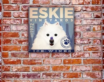 American Eskimo Eskie Dog Wine company illustration on stretched gallery wrapped canvas by Stephen Fowler