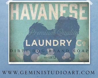 Havanese laundry company laundry room artwork giclee archival signed artists print by Stephen Fowler Pick A Size