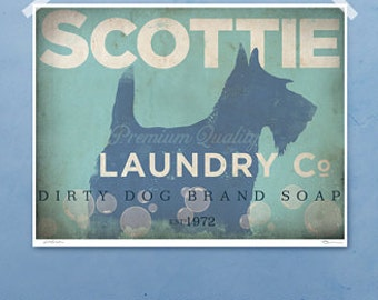 Scottie Scottish Terrier laundry company laundry room artwork giclee archival signed artists print by Stephen Fowler Pick A Size