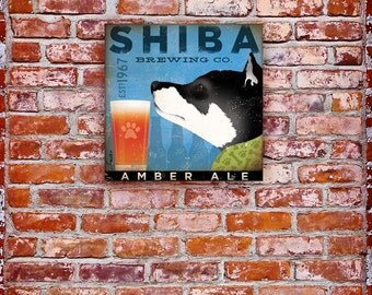 Shiba Inu brewing company beer graphic illustration on gallery wrapped canvas by stephen fowler