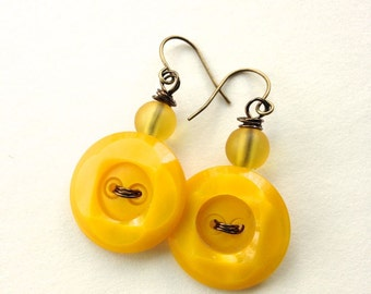 Bright Mustard Yellow Earrings from upcycled Vintage Buttons