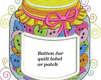 Buttons-Jar Quilt Label personalized machine embroidered
