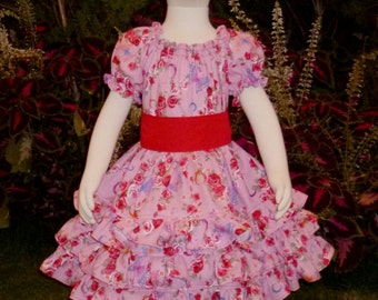 Red roses and butterflies triple ruffle dress