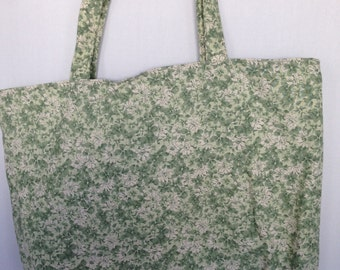 Large Tote-Ivory with Green Flowers (Bag 513)