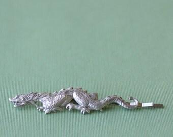 Victorian dragon silver bobby pin goth retro hair accessory gothic medieval fantasy Asian GoT