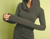 extra long sleeved hooded top Cement Grey and Fuchsia