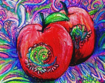 original art drawing aceo red apple zentangle design