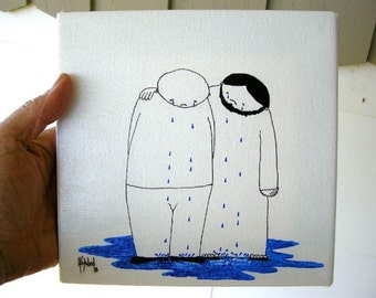 Someone Cares ORIGINAL cartoon Drawing PAINTING