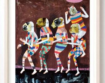 Art, Print, Animals, Dogs, Pug, Humor, Dance, Bulldog, Mask, Stripes, Poster, A Little Dancing Before We Head Home