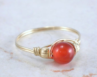 14kt Gold Filled Carnelian Wire Wrapped Bead Ring