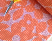 SALE SLICKER LAMINATED Fabric, Dots and Loops in Peach- 1 Yard or by the yard