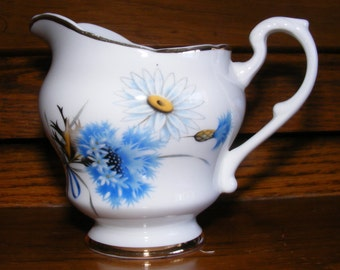 Daisy and Blue Floral Creamer Pitcher