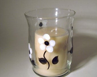 Hand Painted Candle Holder Black and White Flowers