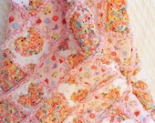 Baby Shower Gift, Baby Rag Quilt, Crib Quilt, Pink Hearts and Flowers Rag Quilt, Flannel Rag Quilt