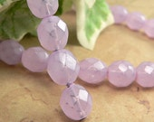 Purple Czech Glass Beads Milky Lilac Round Firepolished 8mm Lavender (25)