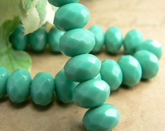 Green Turquoise Czech Glass Beads Rondelle Opaque 6x8mm (12)