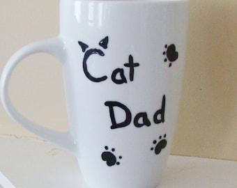 Cat Dad Mug Hand Painted