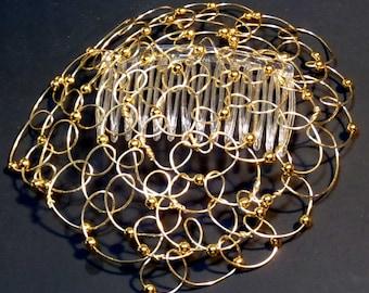 "Womens Kippah- Wire Kippah Gold Wire 5"""