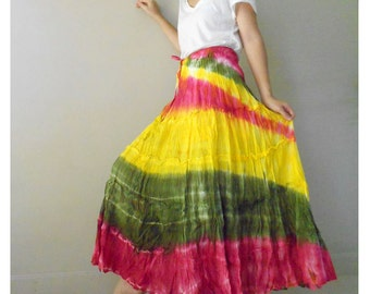 Hippie Gypsy Tie dye Cotton Patchwork Long Smock Skirt /Summer Dress S-L (06)