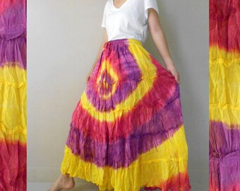 Purple Yellow Tie dye Cotton Patchwork Elastic waist Hippie Long Skirt S-L (EL4)