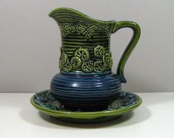 Small VTG Blue Green INARCO Pitcher Tray 1960's Japan Asian Sand Dollar Motif
