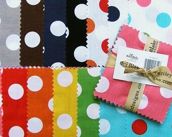 "SQ15 Riley Blake MEDIUM DOTS Precut 3.5"" Stacker Fabric Quilting Cotton Charm Pack Squares Polka Dots 35-360-15"